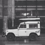 SWB Land Rover Defender on Rainy Streets of MPLS