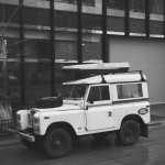SWB Land Rover Defender on Rainy Streets of MPLS.IMG_6178